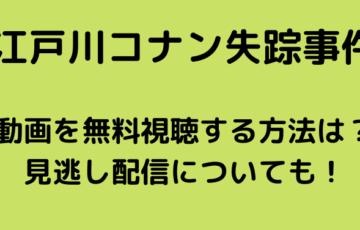 江戸川コナン失踪事件 金曜ロードショー 無料視聴 見逃し